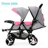 Bébé poussette Double siège avant et arrière plat Lie Double poussette Portable pliante bébé poussette 2 en 1 nouveau-né jumeaux bébé panier