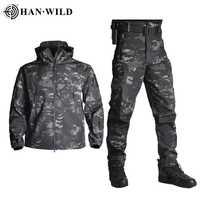 TAD veste tactique hommes veste à coquille souple armée imperméable Camouflage vêtements de chasse costume Camouflage peau de requin manteaux militaires + pantalon