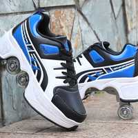Nouvelle mode multifonction hommes femmes chaussures de divertissement plat avec deux roues chaussures créatives carré Sport Chaussure Homme