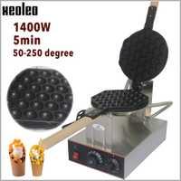 Máquina comercial de puff de huevo XEOLEO QQ máquina de gofres de huevo de acero inoxidable máquina de gofres de huevo 1400W 220V Hongkong horno de pastel de huevo de burbuja