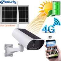 Energía Solar 4G tarjeta SIM WiFi IP Cámara batería recargable 1080P 4X Zoom Audio IR vista nocturna cámara de Video vigilancia al aire libre