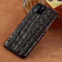 Étui pour iphone 11 pro max 6.1 en cuir véritable Crocodile couverture arrière de luxe d'origine pour iphone 11 étui xr xs max 7 8 plus fundas