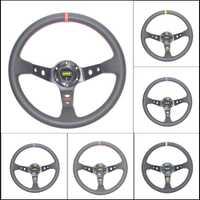 Envío Gratis OMP coche deporte volante carreras tipo alta calidad universal 14 pulgadas 350MM aluminio + PVC 4 estilo rojo amarillo