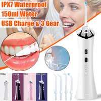 Irrigador Oral USB recargable 100-240V agua Flosser inalámbrico impermeable portátil Dental Jet dientes limpiador 150ML 3 engranajes