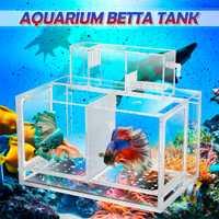 Acuario de acrílico transparente bebé Betta pecera Mini Filtro de acuario caja de cría incubadora aislamiento jaula casa acuática mascotas suministros