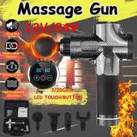 Pistola de masaje muscular profunda 3/20 engranajes 12 V/24 V Botton/pistola de masaje LED dolor de alivio del músculo corporal