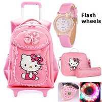 Hello Kitty enfants sacs d'école enfants sacs à dos roue chariot bagages pour filles sac à dos Mochila Infantil Bolsas Zaini Scuola