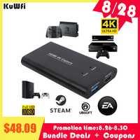 KuWFi USB3.0 HDMI 4K60Hz Capture vidéo HDMI vers USB Capture vidéo carte Dongle jeu Streaming diffusion en direct avec micentrée