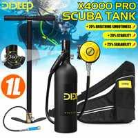 DIDEEP 1L bouteille de plongée sous-marine Mini réservoir d'oxygène ensemble respirateur réservoir d'air pompe à main pour la plongée en apnée souffle équipement de plongée noir