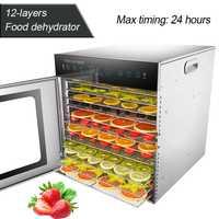Deshidratador de alimentos de 12 capas comercial/doméstico secador de alimentos de doble uso máquina de secado de frutas y verduras de acero inoxidable 220 V/50 HZ 1000W 1 ud.