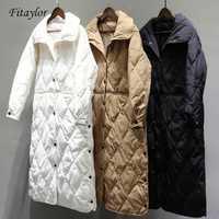 Fitaylor Otoño Invierno mujer abrigo largo blanco pato abajo chaqueta mujer ultradelgado abrigo Parka prendas de vestir exteriores Tops
