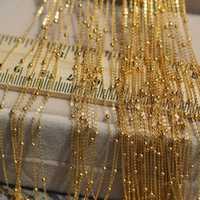 1 Uds. Collar de oro amarillo de 18k sólido Real para mujer Mini cuentas de la suerte con O Chain Link 16