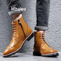 Misalwa britannique richelieu hommes bottes fermeture éclair cheville homme Oxford bottes 37-44 taille printemps/hiver cuir chaud élégant décent chaussures