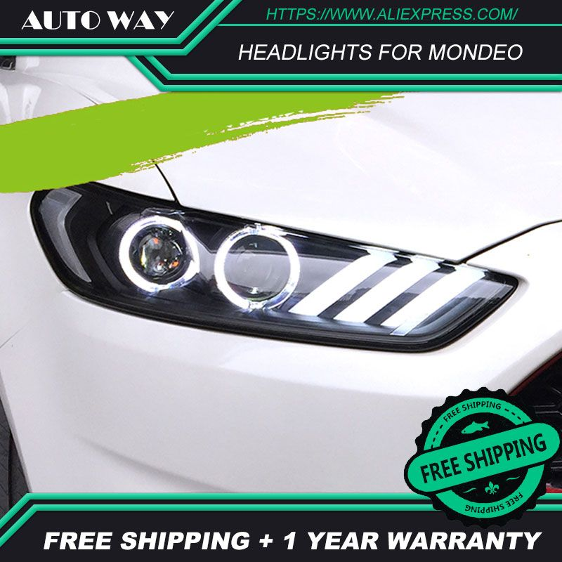 HHP US $484.00 Car Styling Head Lamp case for Ford mondeo Headlights 2013 2014 2015 LED Ford mondeo Headlight DRL Lens Double Beam