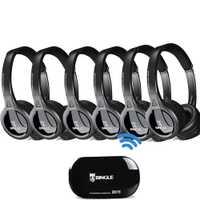 6 Pack 2,4G transmisor inalámbrico auriculares estéreo auriculares para teléfono para Samsung, LG, TCL, xiaomi Sony Sharp Levono Honor TV