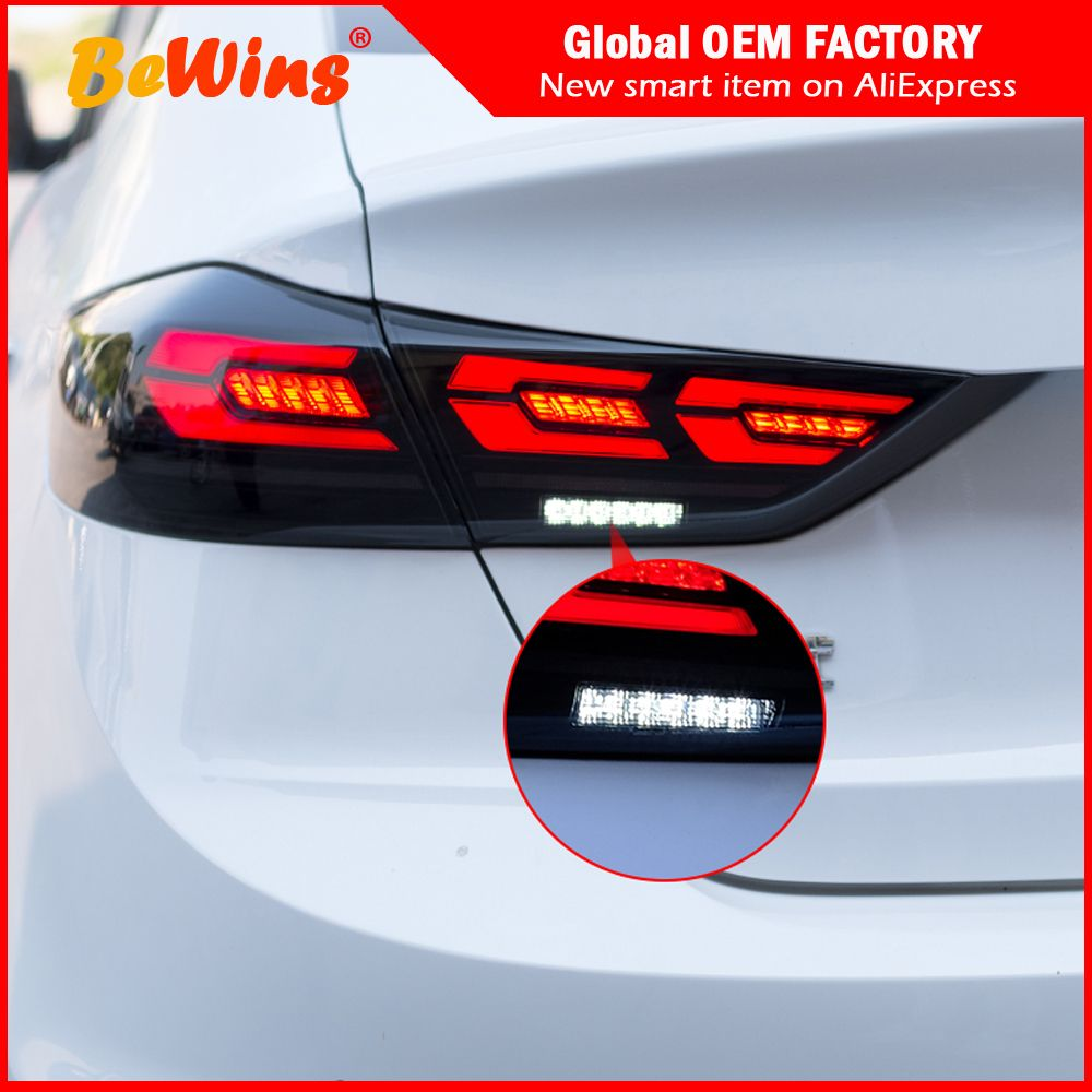 WNQ US $475.23 Car styling For 16-18 Hyundai Elantra leading tail lamp assembly LED tail lamp LED 3C tail lamp flow light steering