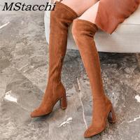 MStacchi mode bottes pour femmes daim bout rond bottes talons épais cuissardes femmes bottes avec fermetures à glissière printemps automne bottes