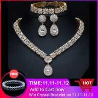 CWWZircons - bijoux plaqué or pour femmes, bijoux plaqué or de Dubai exclusifs, ensemble de bijoux pour fête collier, boucles d'oreilles et bracelet en zircone cubique Deluxe pour femmes T053