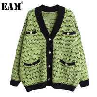 [EAM] poche multicolore grande taille tricot pull Cardigan coupe ample col en v à manches longues femmes mode automne hiver 2019 1D383