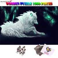 MOMEMO Fantasy Wolf 1000 pièces Puzzle pour adultes animaux motif Puzzle en bois 1000 pièces Puzzle jouets pour enfants enfants