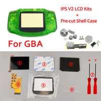 Kits d'écran LCD IPS V2 avec coque pré-découpée pour écran LCD V2 rétro-éclairage GBA 10 niveaux haute luminosité pour boîtier de Console GBA