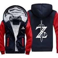 Juego Zelda Legend términos enlace de productos logotipo gruesa Sudadera con capucha ropa de abrigo