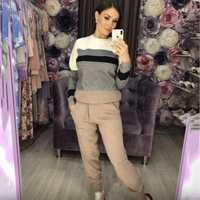 Automne et hiver décontracté femmes pull en tricot pantalon costume tricot sportswear couleur bande couture laine tricot costume