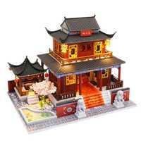 Niños juguetes casa de muñecas muebles ensamblar madera miniatura casa de muñecas Diy casa de muñecas juguetes de regalo de Navidad para niños M909