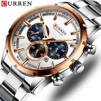 Reloj CURREN para hombre, marca superior de lujo de reloj de cuarzo, reloj negro impermeable de acero para hombre
