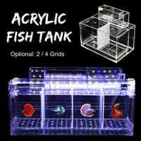 Transparente de acrílico acuario bebé Betta pecera de escritorio Filtro de acuario caja de cría criadero aislamiento acuática para mascotas