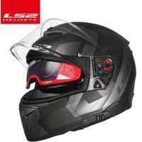 Origina LS2 disjoncteur moto rcycle casque moto LS2 FF390 chrome intégral double lentille casques modulaires casco avec Pinlock gratuit