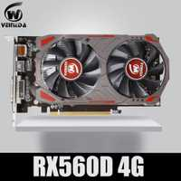 Carte vidéo VEINIDA Radeon RX 560D GPU 4GB GDDR5 128 bit ordinateur de bureau de jeu cartes graphiques vidéo PCI Express3.0 pour carte Amd
