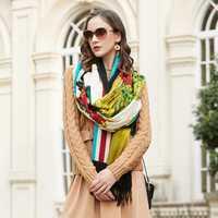 100% bufandas de cabeza cuadrada de lana para mujer elegante señora Carf y chal cálido largo estampado Animal Stoles Bandana bufanda Hijab playa manta