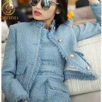 SMTHMA 2019 nouveauté mode femmes bleu et rose Tweed veste manteau + deux pièces sans manches gland robe ensembles