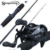 Conjunto de caña de pescar Sougayilang 1,75 m Combo 3 secciones de caña de pescar de carbono con 12 + 1BB carrete de pesca kit de Pesca
