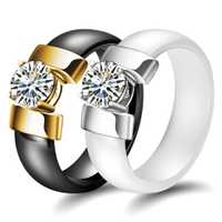 Nuevo anillo de cerámica anillos de diamante blanco y negro pareja pares de regalos conmemorativos de cumpleaños