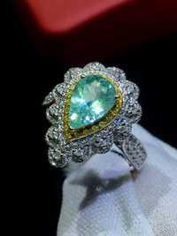Anillo de turmalina Paraiba 1.03ct puro 18 K oro Natural Paraiba turmalina diamantes anillos femeninos para mujeres anillo fino