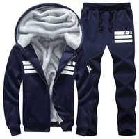 Marque hommes ensembles automne hiver épais polaire sport costume 6XL sweat + pantalons de survêtement hommes vêtements ensembles survêtement grande taille 8XL