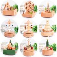 Madera caja de música con diseño de carrusel rueda de niña niño regalo de cumpleaños en casa muebles de madera Retro casa Decoración