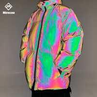 Veste d'hiver hommes épais arc-en-ciel vestes réfléchissantes Parka manteau mode jeune Hip Hop veste ample vêtements de rue vêtements pour hommes