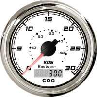 1 unidad de alta calidad 85mm GPS Tabla de velocidad velocímetro blanco 0-30Knots 0-50 km/h hileómetro de velocidad a prueba de agua para bote con antena GPS