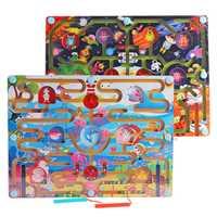 Juguete magnético laberinto niños Juego temprano educativo cerebro rompecabezas Teaser dibujos animados animales juguetes de madera M80