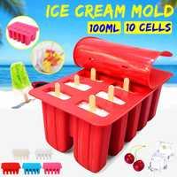 Casa diy molde de helado 10 celdas molde de cubitos de hielo fabricante de paletas de Yogurt hielo DIY decoración herramientas de helado herramientas de cocina
