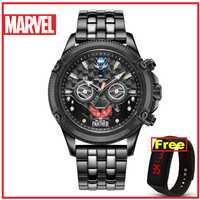 Relojes de cuarzo para hombre de la pantera negra de Marvel auténtica oficial de Disney 50m de cuero inoxidable resistente al agua versión limitada M-9096