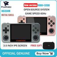 Powkiddy RG350 console de jeu portable RG350M coque métallique console système open source 3.5 pouces IPS écran rétro ps1 arcade 3D jeux