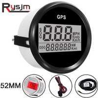 2 ''52mm GPS velocímetro odómetro impermeable Digital mph para coche barco con retroiluminación 12 V/24 V coche medidor de velocidad GPS antena LCD