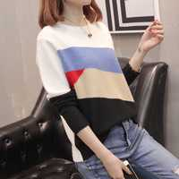 Jersey a la moda para mujer 8750 (3 habitaciones 9 filas 1) tomar el nuevo suéter de cuello de rayas oblicuas 49