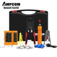Kit d'outils réseau, AMPCOM 11 en 1 professionnel Portable Ethernet ordinateur Maintenance LAN câble testeur ensemble de réparation
