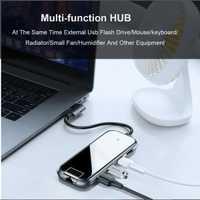 Baseus multifunción tipo C USB-C adaptador de Hub 3 puertos USB 3,0 convertidor divisor tipo C PD carga Rj45 interfaz de pantalla HD 4K