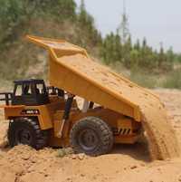 1540 RC camión 2,4G 6CH de aleación de Control remoto camión de volteo grandes vehículos de ingeniería, camión de arena cargado coche RC juguete para niños Gif
